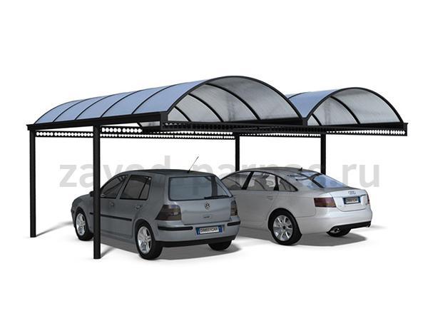 Арочный навес из поликарбоната на два авто