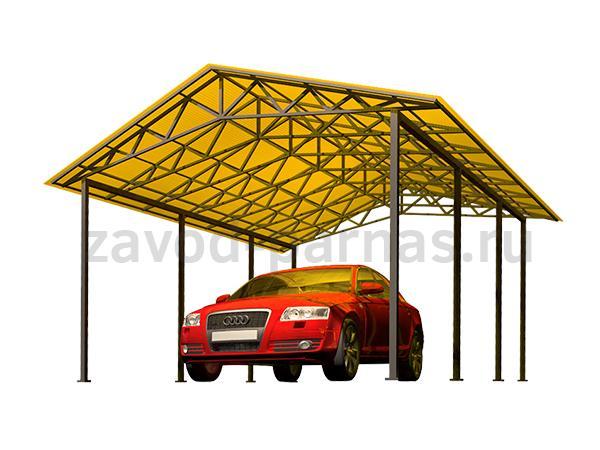 Двухскатный навес из поликарбоната для автомобиля