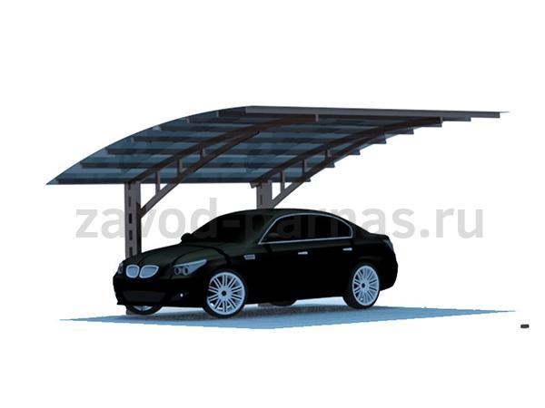 Стильный навес из металла и поликарбоната для автомобиля