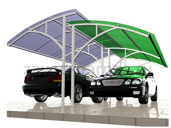 Навес из поликарбоната для автомобиля двухуровневый