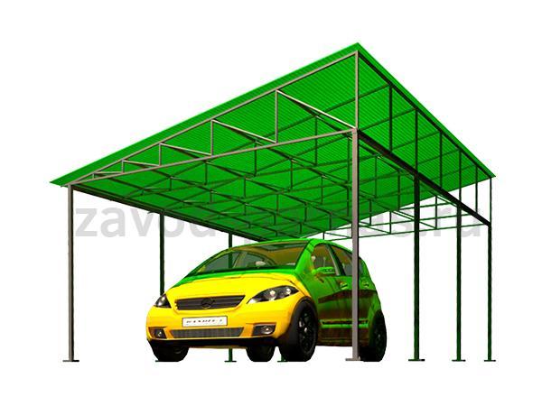 Навес для авто из поликарбоната и металла для дачи