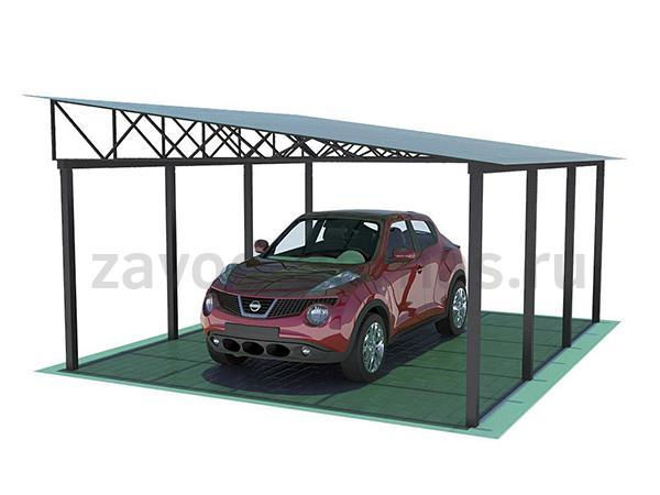 Навес из металла и поликарбоната для автомобиля