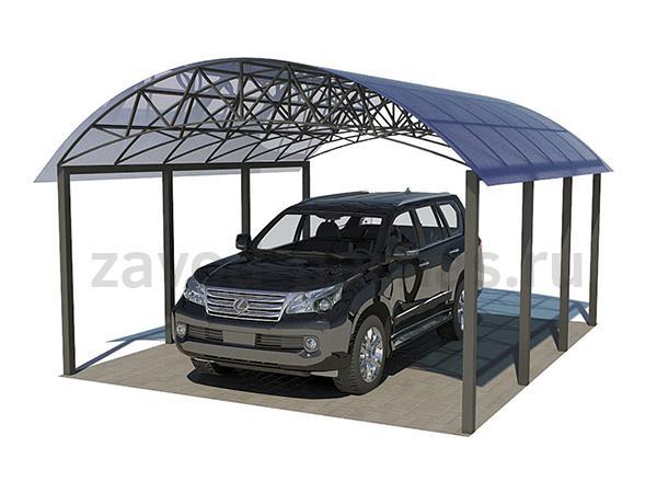 Элегантный арочный навес из поликарбоната для автомобиля