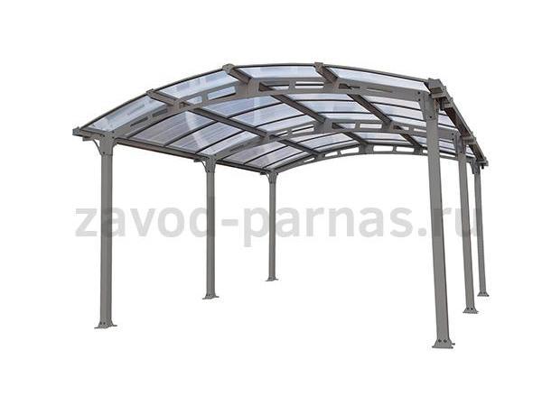Металлический арочный навес для двора - поликарбонат