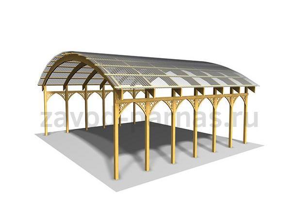 Металлический арочный навес для двора частного дома