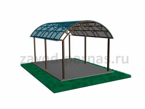 Арочный навес для дворовой территории - поликарбонат
