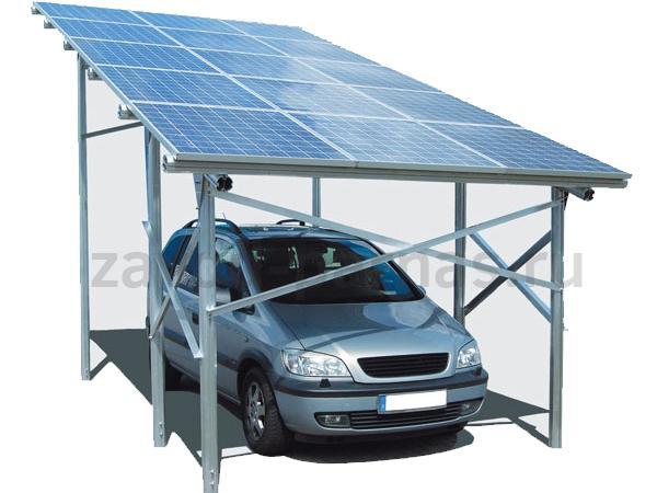 Односкатный удобный навес из поликарбоната для автомобиля