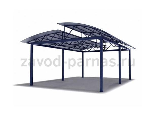 Двухуровневый арочный навес из металла и поликарбоната