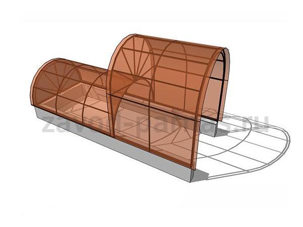 Навес из поликарбоната арочный двухуровневый