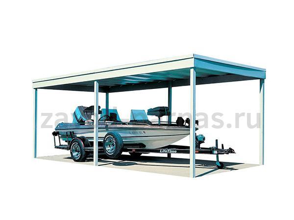 Современный навес из поликарбоната и металла для авто