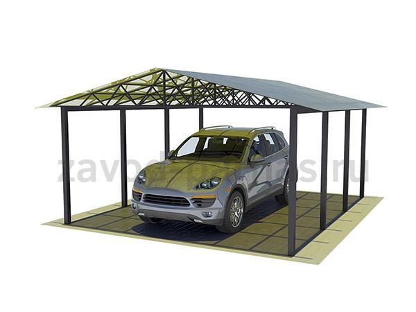 Навес из металла для автомобиля с двухскатной крышей