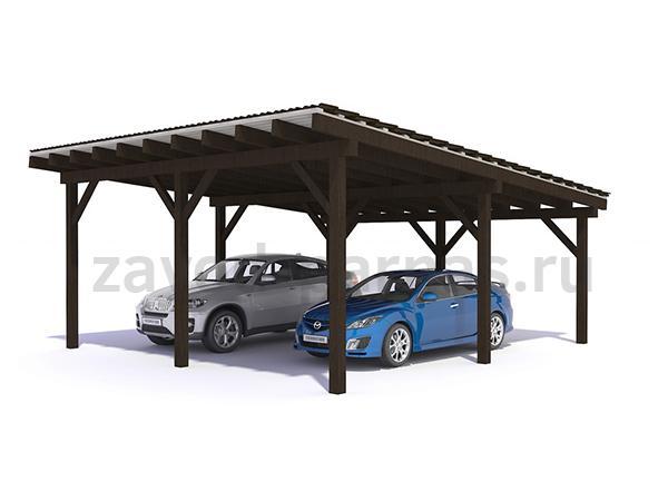 Прекрасный навес из дерева для автомобиля