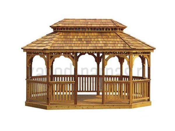 Прекрасная деревянная беседка на дачу в области