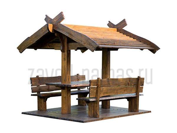 Удобная деревянная беседка во двор