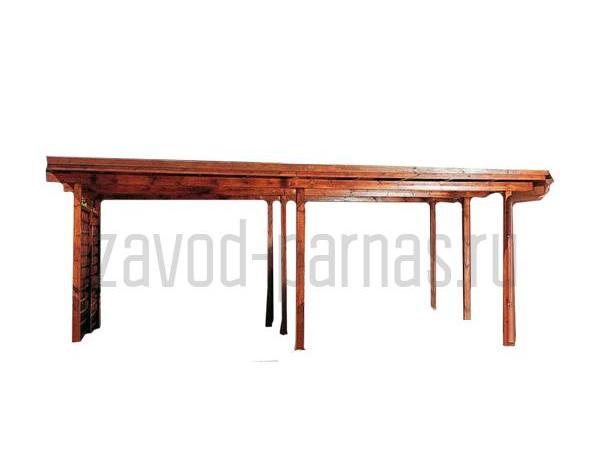 Современный деревянный навес для загородного дома