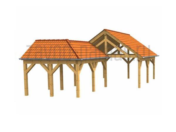 Деревянный навес и пристройка на угол дома