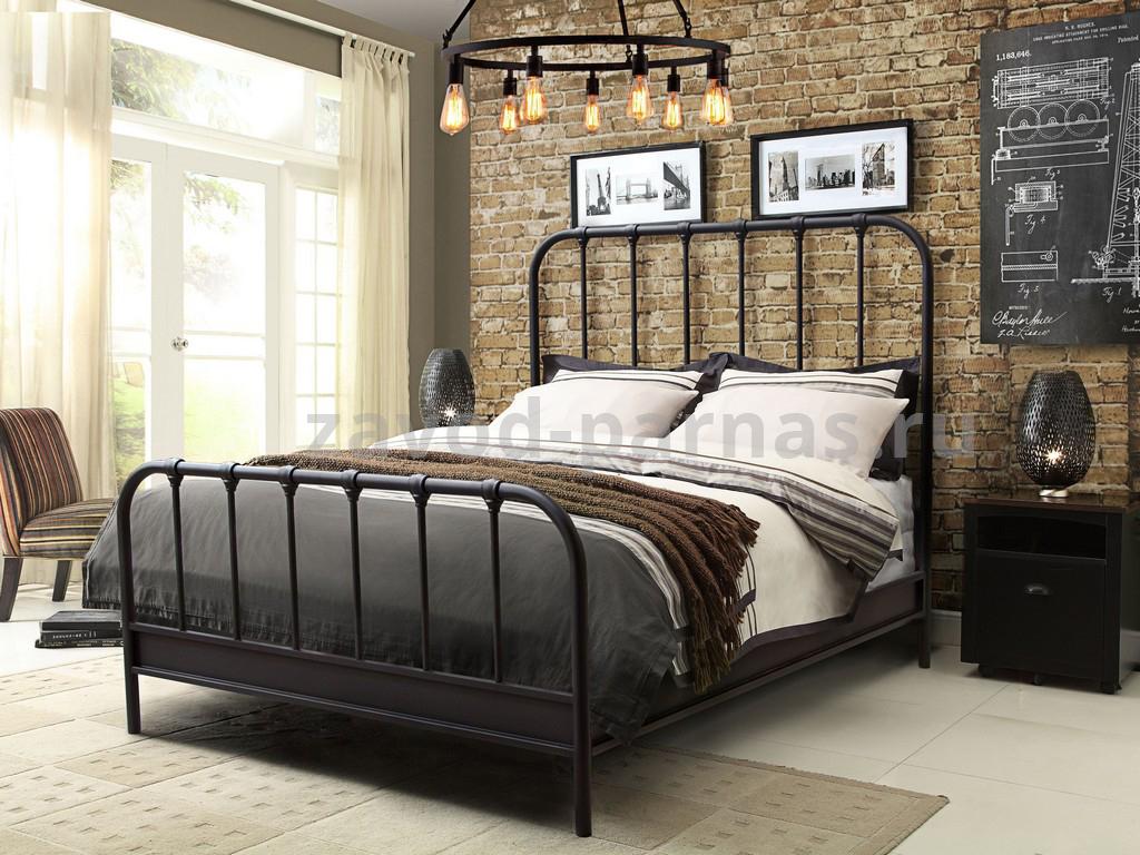 Кровать в стиле лофт металл плюс дерево