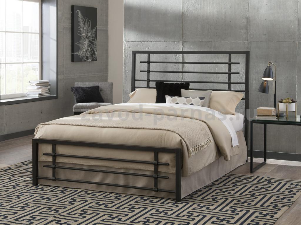 Кровать в лофт стиле из дерева и металла