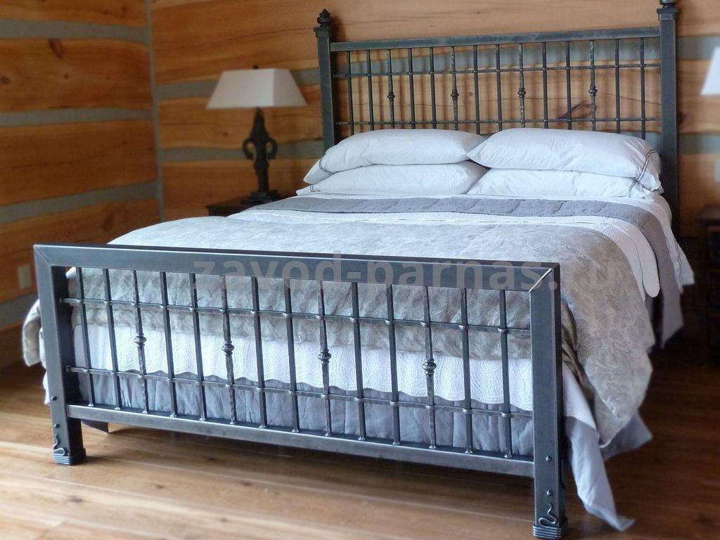 Кровать в лофт стиле металлическая с деревом