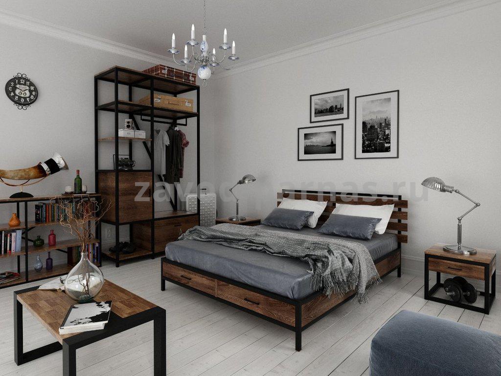 Кровать лофт из дерева и металла