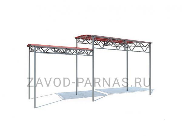 Навес из поликарбоната и металла двухуровневый - 2 х 8 м
