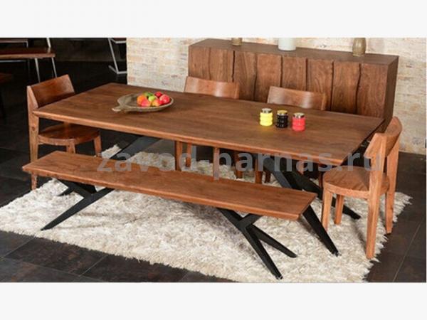 Деревянный стол в лофт стиле на металлическом каркасе