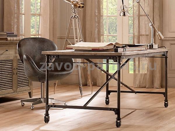 Деревянный стол в стиле лофт металлический каркас