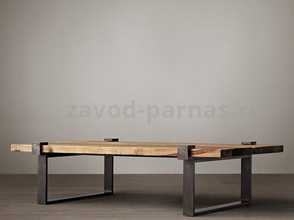 Журнальный стол в лофт стиле металлический с деревом