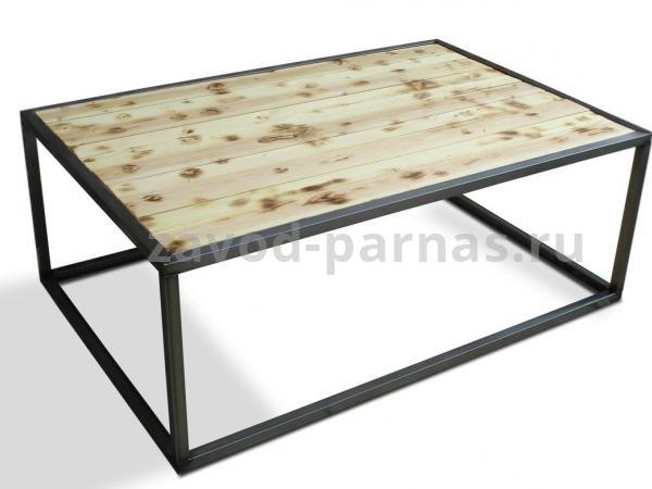 Журнальный столик лофт из дерева и металла