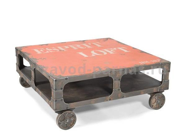 Журнальный стол лофт из металла и дерева