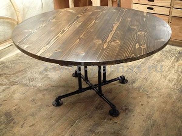 Круглый столик в стиле лофт металл плюс дерево