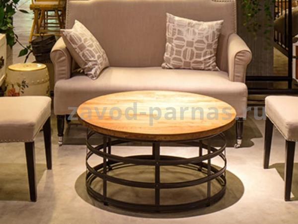 Круглый стол лофт из металла и дерева