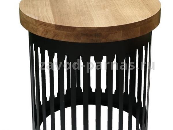 Круглый стол в стиле лофт металлический с деревом