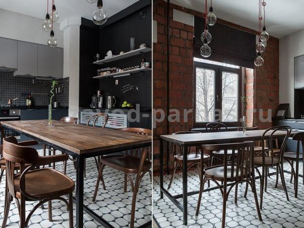 Кухонный стол лофт металл плюс дерево