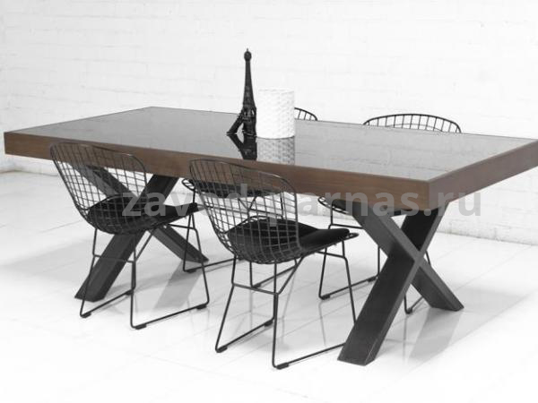 Кухонный стол лофт дерево и металл