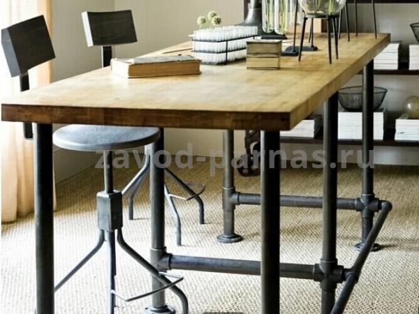 Кухонный столик лофт металлический с деревом