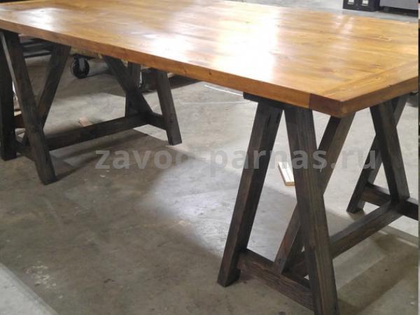 Обеденный стол лофт из металла и дерева
