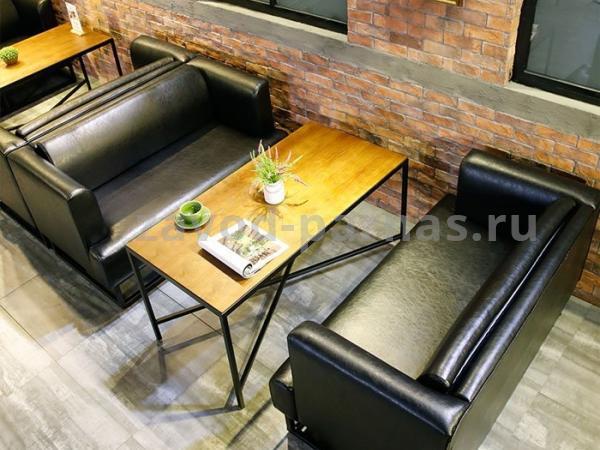 Обеденный столик в лофт стиле металлический с деревом