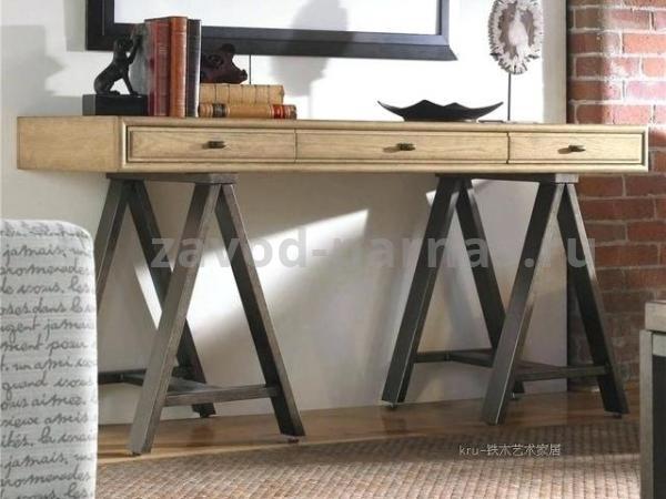 Письменный стол лофт металлический с деревом