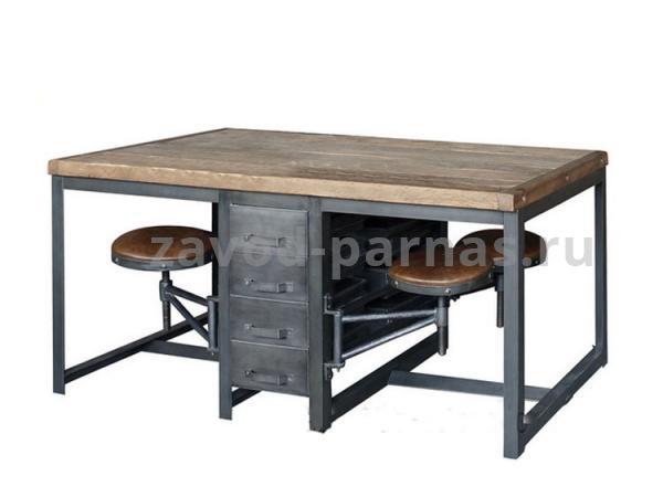 Рабочий столик в стиле лофт металл плюс дерево